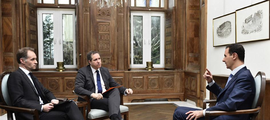 """الرئيس الأسد في مقابلة مع """"أوروبا 1″و""""تي في 1"""" الفرنسيتين:  نحارب مــن أجــل الشعــب الســوري.. والغــرب يدفع الآن ثمــــن دعمـــه للإرهــاب فـــي بـلادنا"""