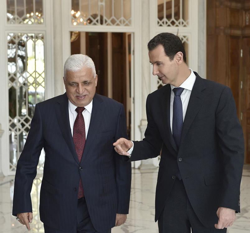 تلقى رسالة شفهية من العبادي أكد فيها أهمية تعزيز التعاون في الحرب ضد الإرهاب  الرئيس الأسد: العدو مشترك والمعركة واحدة