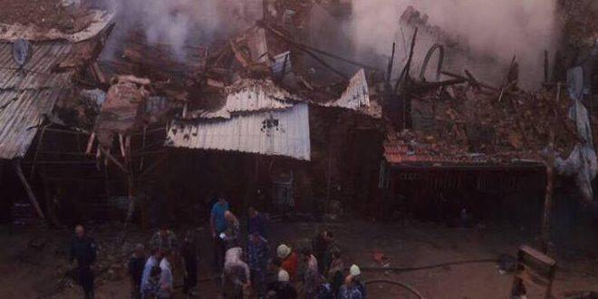 وفاة ثلاثة أشخاص جراء حريق في سوق تجاري بشارع الثورة في دمشق