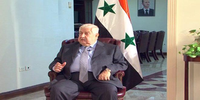 المعلم: لا أحد يستطيع أن يقرر نيابة عن الشعب السوري مستقبل سورية