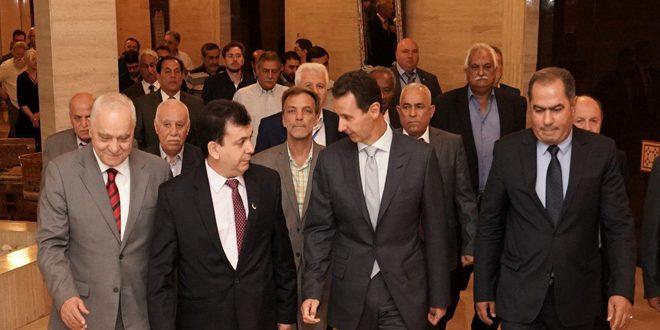 الرئيس الأسد يستقبل وفداً من الشخصيات المشاركة في الملتقى النقابي الدولي للتضامن مع سورية ضد الإرهاب والحصار