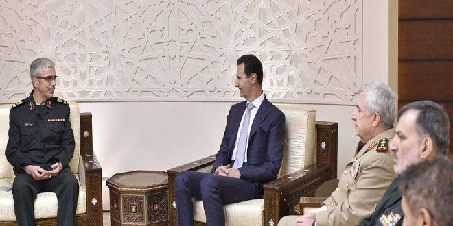 الرئيس الأسد يستقبل اللواء محمد باقري رئيس أركان الجيش الإيراني والوفد المرافق له