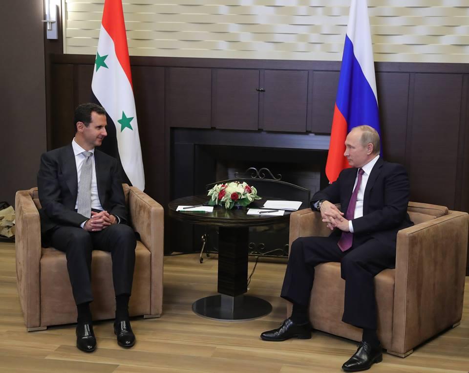 الرئيس الأسد يعقد لقاء قمة مع الرئيس الروسي فلاديمير بوتين في مدينة سوتشي الروسية